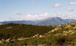 Vista da Tanca Abba Canuda: da sx i Tacchi di Ulassai e Osini, Perda Liana con lo sfondo del Gennargentu innevato, Punta Tricoli e il Monte Armidda.