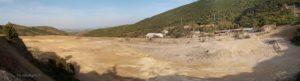 Il terrazzato del grande bacino degli sterili e la valle del Rio di Montevecchio.