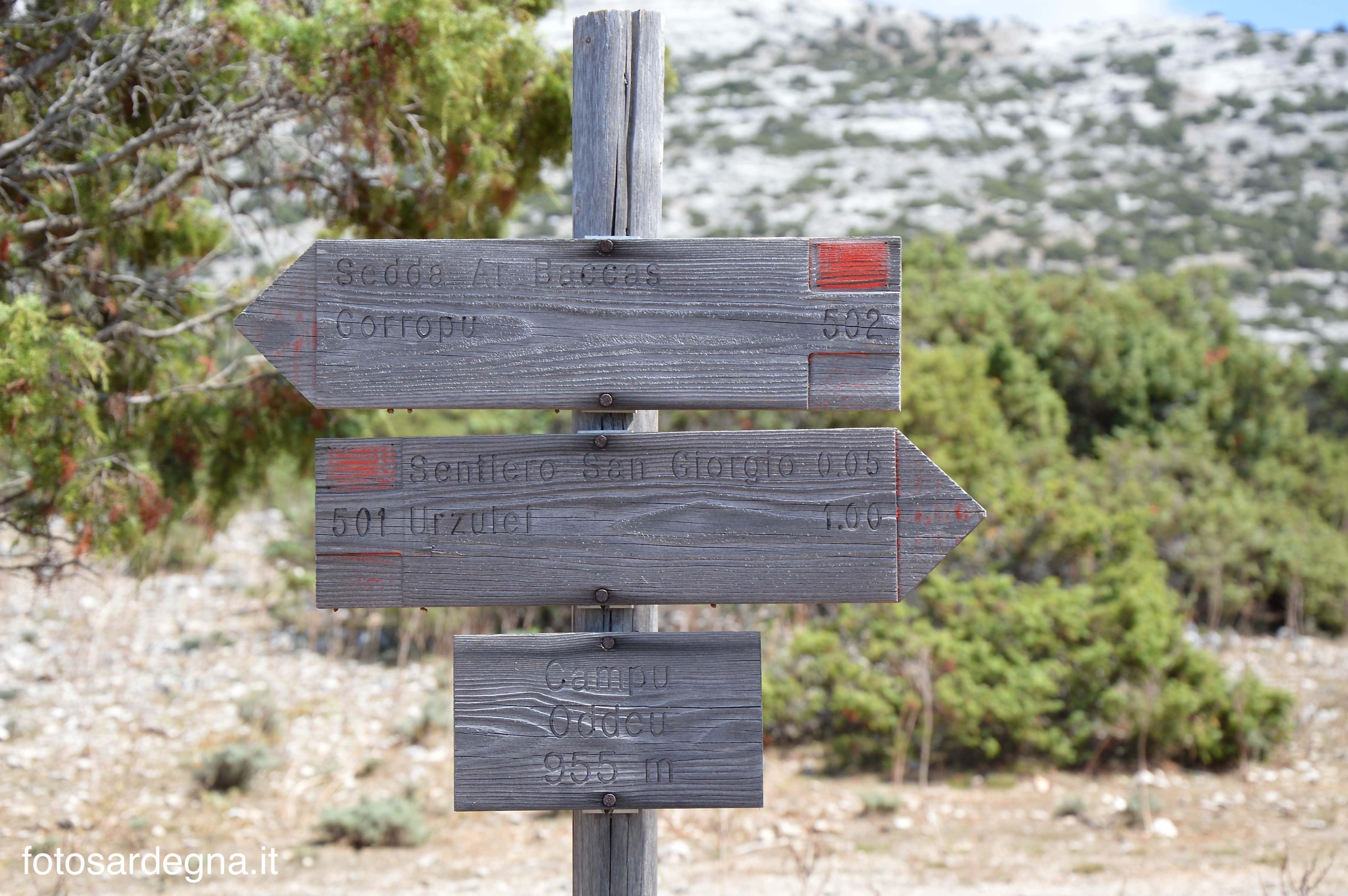 Cartello sentieristico a Campu Oddeu.