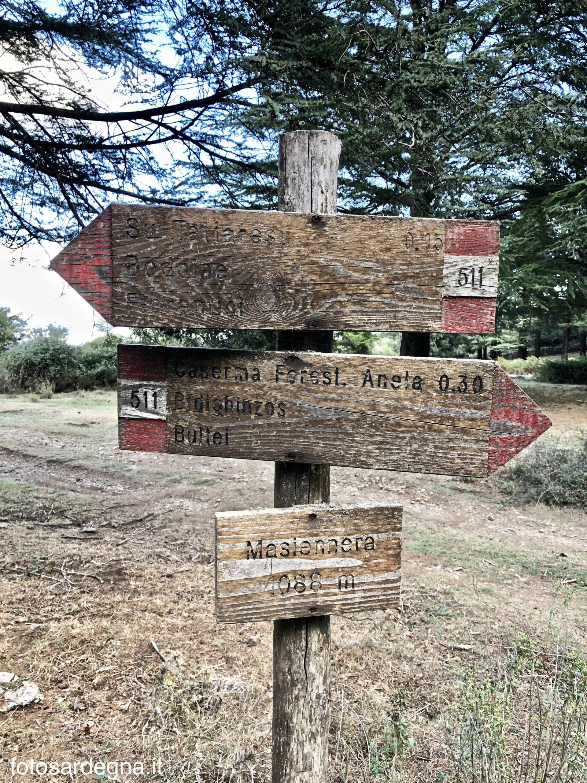 Indicazioni sentieri località Masiennera